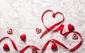 Обои romantic, hearts, love, valentine`s day, лента, red