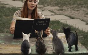 Картинка девушка, котята, книга, Кот в сапогах, David Dubnitskiy