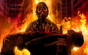 Картинка люди, пожар, огонь, пламя, маски, across the firestorm