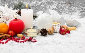 Картинка снег, украшения, елка, свечи, Новый Год, Рождество, подарки, Christmas, snow, Merry Christmas, Xmas, gift, decoration, …