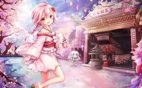 Картинка весна, сакура, храм, кимоно, цветение, алтарь, розовые волосы, две девочки