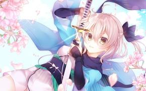 Картинка girl, sword, flower, anime, katana, sakura, ken, blade, blonde, leaf, warrior, japanese, kimono, konoha, hana, …