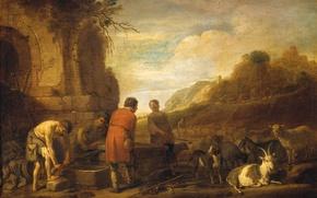 Картинка дерево, масло, картина, мифология, Nicolaes Moeyaert, Встреча Иакова и Рахиль