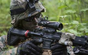 Картинка оружие, очки, солдат, экипировка, каска