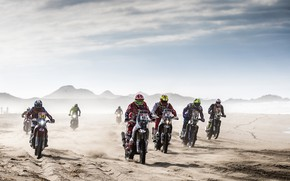 Обои Ралли, Дакар, Dakar, Много, Rally, Пыль, Гонщики, Motul