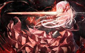 Картинка девушка, меч, аниме, арт, Pixiv Fantasia
