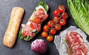 Картинка сыр, хлеб, бутерброд, помидоры, капуста, бекон