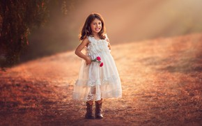 Картинка цветы, улыбка, девочка