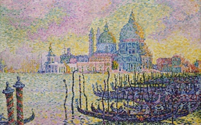 Обои пуантилизм, гондола, Поль Синьяк, собор, лодка, Большой Канал. Венеция, картина