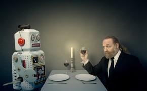 Обои робот, обед, человек