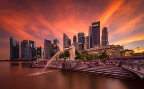 Обои lights, огни, небоскребы, Сингапур, архитектура, мегаполис, blue, night, fountains