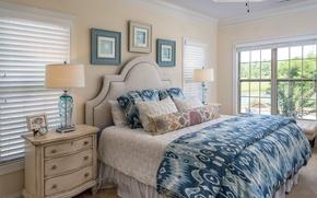 Картинка белье, лампа, кровать, спальня, комод