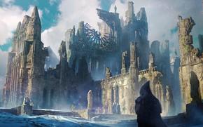 Картинка зима, снег, время, человек, капюшон, разрушение, крепость, сабор