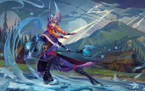 Картинка девушка, воин, art, dota 2, crystal maiden, Rylai, crystal maiden valkyrie