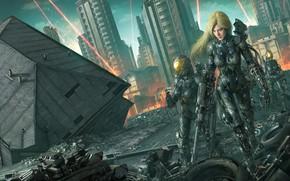 Картинка город, дом, фантастика, война, робот, арт, блондинка, разрушение, руины, киборг, Tek Tan