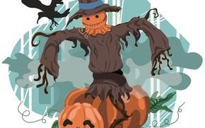 Картинка праздник, Хеллоуин, пугало