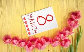Картинка цветы, тюльпаны, love, 8 марта, pink, romantic, tulips, gift
