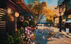 Картинка осень, цветы, город, дороги, поезд