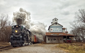 Обои railway, railroad, smoke, truck, Carland Elevator, Pere Marquette 1225, train, steam