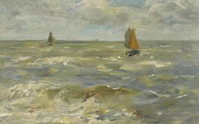 Картинка картина, парус, морской пейзаж, Эжен Буден, Eugene Boudin, Лодки на Море