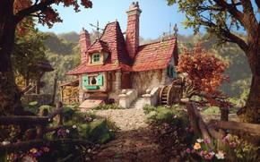 Обои Rafael Chies, Belle's Cottage, арт, домик, иллюстрация, Красавица и чудовище
