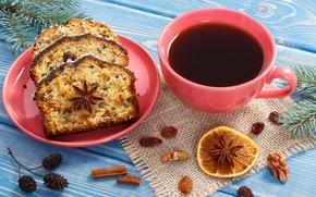 Картинка новый год, кофе, напиток, орехи, выпечка, кекс, изюм, анис