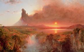 Картинка солнце, деревья, пейзаж, озеро, камни, скалы, дым, рисунок, гора, водопад, равнина, вулкан, арт, Frederic Edwin …