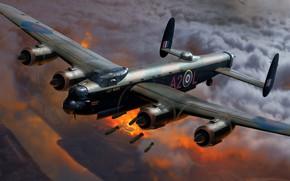 Картинка Живопись, Бомбы, Вторая Мировая война, WW2, Британский, Royal Air Force, Avro 683 Lancaster, тяжёлый бомбардировщик