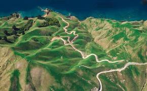 Картинка дорога, деревья, берег, побережье, Новая Зеландия, New Zealand, вид сверху, Тасманово море, drone view wallpaper, …