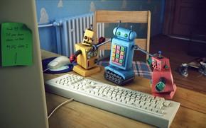 Картинка стол, игрушки, стул, записка, клавиатура, запись, final render, куды, Fighting Robots