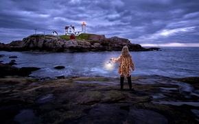 Картинка море, маяк, ситуация, девочка, фонарь, Maine, Nubble Lighthouse, Cape Neddick Lighthouse, Cape Neddick