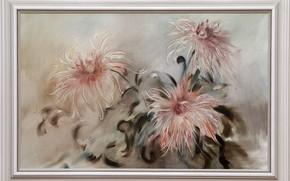 Обои картина, Натюрморт, три цветка, Сфумато, сувенирная живопись, Петренко Светлана, серо розовый фон