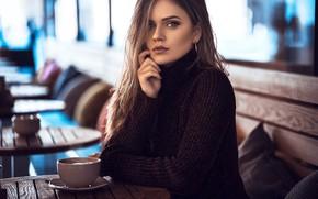 Картинка взгляд, лицо, рука, макияж, кружка, свитер, Anatoli Oskin, Dajana Kllogjri