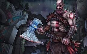 Картинка game, blizzard, Kratos, God of War, snow, man, spartan, god, bald, symbols, runes, Valhalla, ax, …