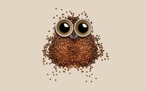 Картинка абстракция, сова, кофе, зерна, чашка