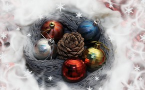 Картинка снежинки, шары, игрушки, шишка, картинка