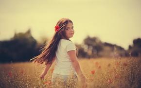 Картинка поле, радость, маки, девочка