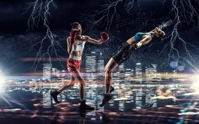 Картинка брызги, огни, фон, девушки, молнии, спорт, две, бокс, нокаут, удар, перчатки, трусы, спортсменки, майки, соперницы