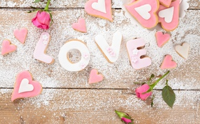 Картинка буквы, Love, еда, розы, печенье, сердечки, выпечка, сахарная пудра, wedding