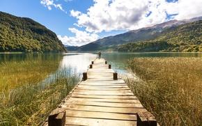Картинка лес, небо, облака, горы, природа, озеро, камыши, человек, причал, солнечно