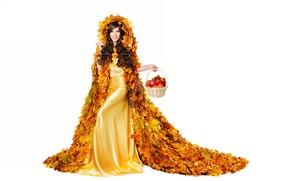 Обои девушка, корзинка, яблоки, осень, платье, листья