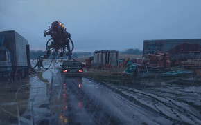Картинка дорога, дождь, автомобиль, bio north
