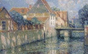 Картинка пейзаж, картина, Henri Le Sedaner, Анри Ле Сиданэ, Канал Весной