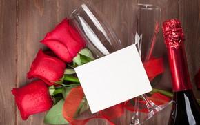 Картинка любовь, цветы, розы, букет, бокалы, красные, red, love, wood, flowers, romantic, Valentine's Day, gift, roses