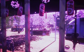 Картинка авто, весна, сакура, колокольчики, фонарики