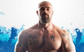 Обои бодибилдер, актёр, Сергей Бадюк, общественный деятель, спортсмен, bodybuilder, tattoo, борода, muscle, татуировка, мышцы, взгляд