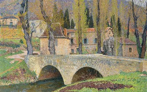 Картинка пейзаж, картина, Анри-Жан Гильом Мартин, Henri Matrin, Мост в Лабастид-дю-Вер