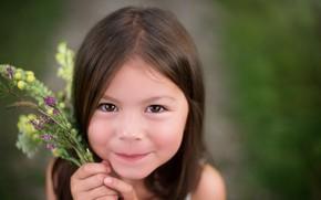 Картинка улыбка, девочка, букетик, кареглазая, Jade