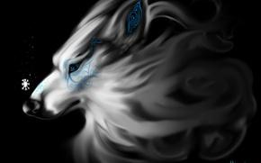 Картинка волк, фэнтези, снежинка, by TehChan