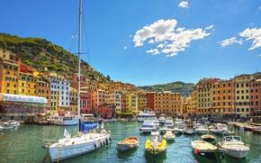 Картинка море, пляж, берег, лодки, Италия, Italy, travel, Camogli, Liguria, basilica
